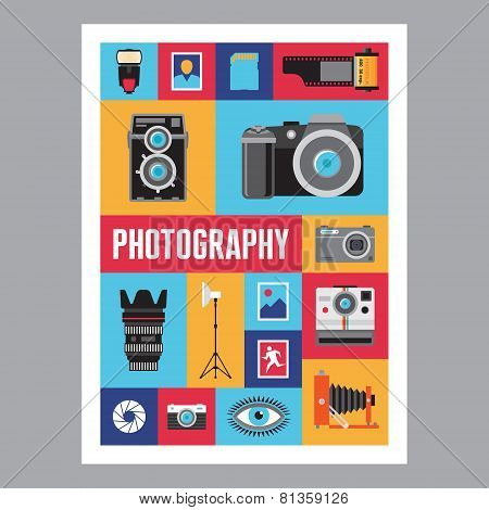 Photography - mosais flat design poster. Vector icons set.
