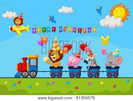 Birthday background with happy animal cartoon on train