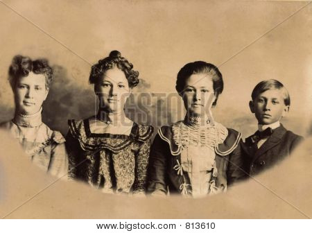 1889 photo of 3 women and a boy