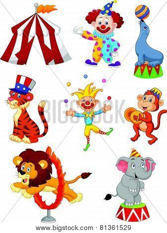 Cute cartoon set Circus themed
