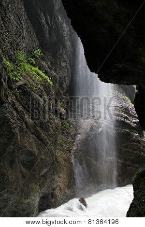 Waterfall in Partnachklamm gorge