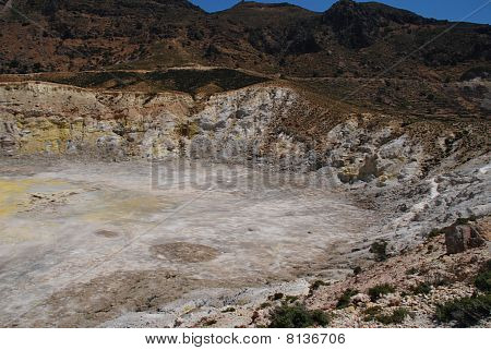 Looking down into the Stefanos volcano crater on the Greek island of Nisyros. poster