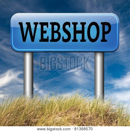 webshop road sign buy or sell online at web shop or internet store web shop shopping poster