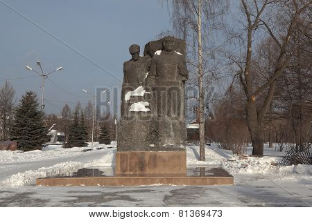 NIZHNY TAGIL, RUSSIA - JANUARY 29, 2015: Photo of Monument tank builders and tankman on the square o