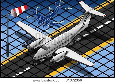 Isometric White Private Plane