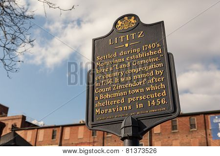 Lititz Historical Sign