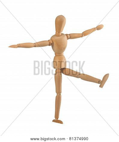 Wooden dummy in the balance on white background poster