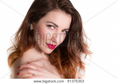 Portrait Of Cute Woman Touching Shoulder Closeup Isolated