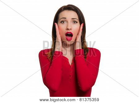 Stunned Woman In Red Long Sleeve Open Mouth In Awe Looking Isolated