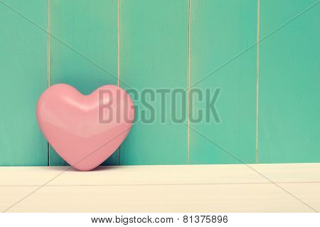 Pink Shiny Heart On Vintage Teal Wood