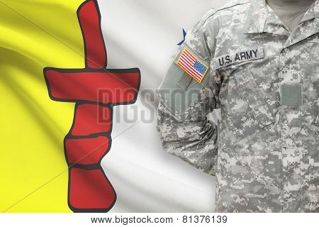 American Soldier With Canadian Province Flag On Background - Nunavut