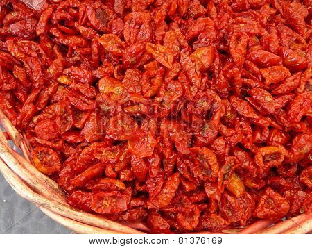 Basket full of sun dried tomatoes