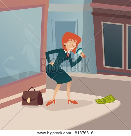 Businesswoman Character with Magnifying Glass and Briefcase Considering Money Possibility Developmen