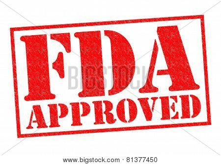 FDA APPROVED red Rubber Stamp over a white background. poster