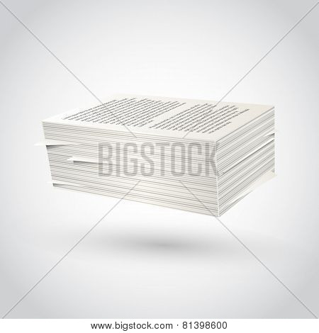 Ream of paper on white background