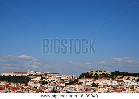 Lisbon cityscape with Sao Jorge Castle and Graça Church