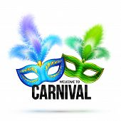 Bright vector carnival masks with feathers and black sign Welcome to Carnival poster