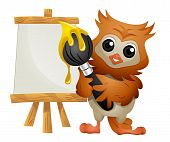 An Illustration of an Owl Painter with Clipping Path poster