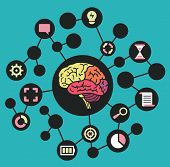 Human resources of brain. Functions and analytical thinking - vector illustration poster