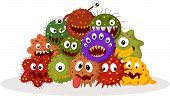 Vector illustration of Cartoon bacteria colony isolated on white background poster