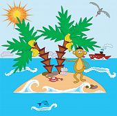 Island with monkey, ,crab, palms, sea, ship, fish, and bird poster