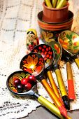 Mix of traditional Russian Souvenirs and antique objects poster