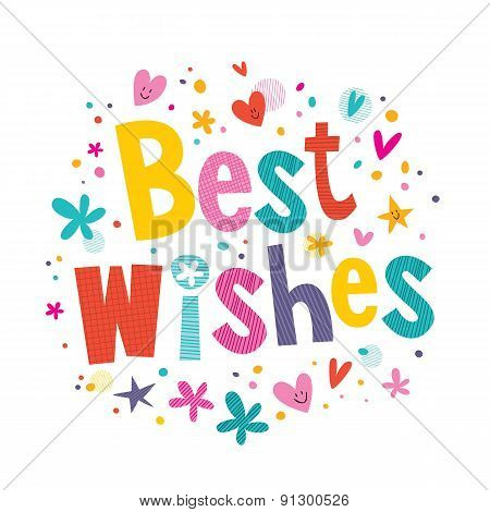 Best Wishes decorative type lettering design greeting card poster