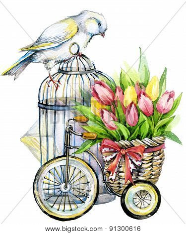 Tulip Flowers, canary bird and decorative birdcage. watercolor