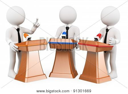 poster of 3d white people. Political debate. Political campaign. Isolated white background.