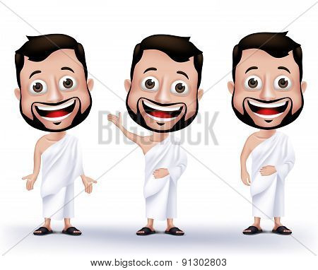 Muslim Man Characters Wearing Ihram Cloths for Performing Hajj or Umrah
