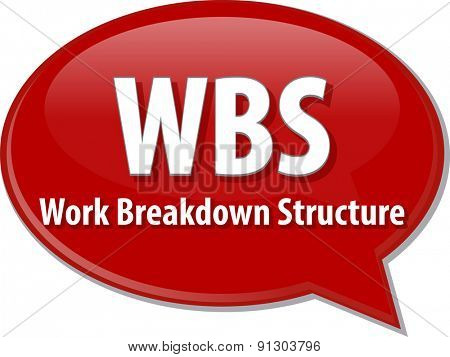 word speech bubble illustration of business acronym term WBS Work Breakdown Structure
