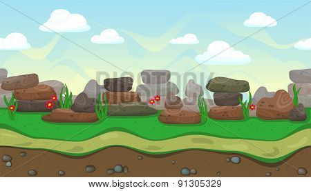 Seamless Landscape With Stones For Game Design