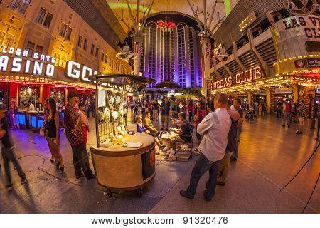 Fremont Street In Las Vegas, Nevada By Night