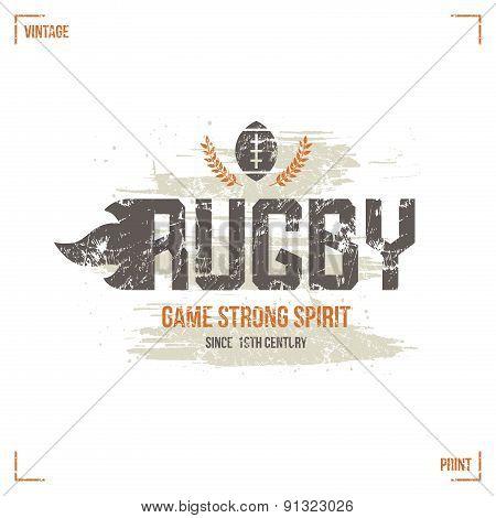 College Rugby Team Emblem