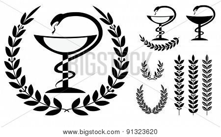 Pharmacy symbol medical snake and cup - vector illustration