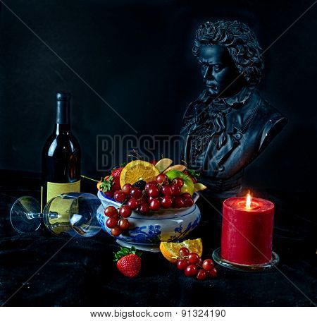 Still life with fruit and glass of wine beethoven