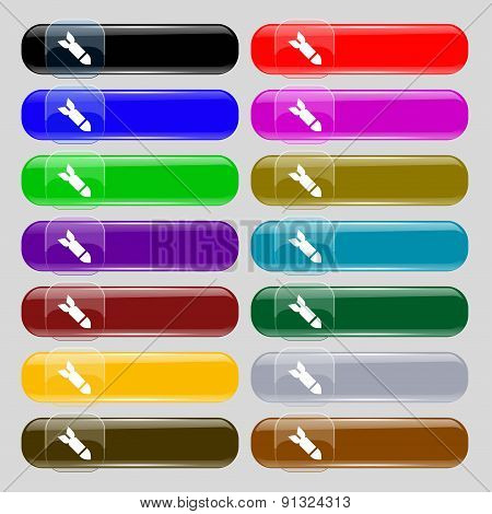 Missile,rocket Weapon  Icon Sign. Set From Fourteen Multi-colored Glass Buttons With Place For Text.