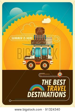 Colorful traveling poster with jeep. Vector illustration.