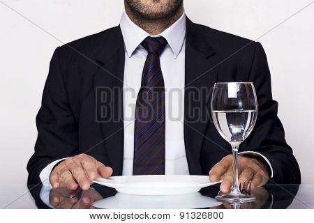 Businessman water