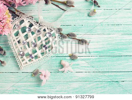 Postcard With Hyacynths, Willow Flowers And Heart