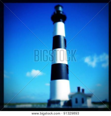 Instagram filtered image of Bodie Lighthouse, Outer Banks, North Carolina - blurred effect