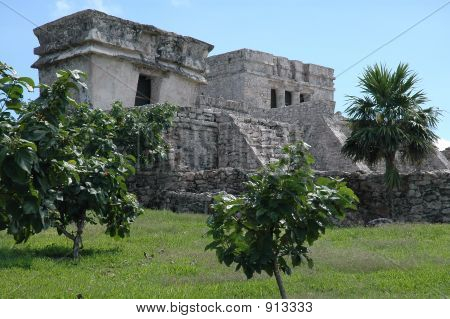 Ancient Temple At Mayan Archeological Site