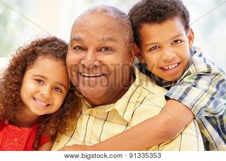 Senior African American man and grandchildren