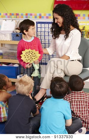 Group Of Elementary Age Schoolchildren In Class With Teacher poster