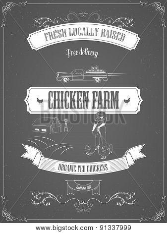 Chicken Farm Vintage Advertisement Vector Poster.