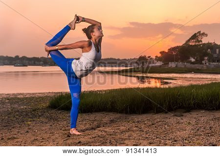 Yoga Natarajasana Variation Dancer Pose Beach