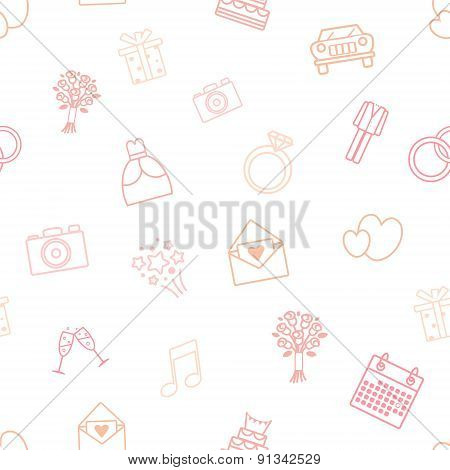 Seamless Vector Pattern Of Wedding Icons.