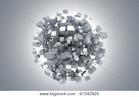 Abstract 3d rendering of white cubes.