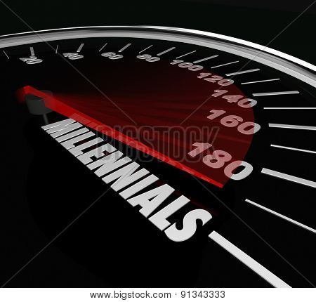 Millennials word on a speedometer to illustrate youth, and young age of people in generation Y who are savvy in technology and social communication and networking