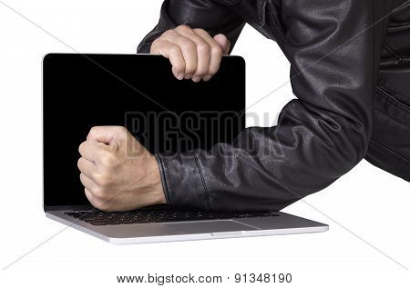 Computer Thief Robber In Leather Jacket Breaking Laptop